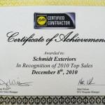 Pella Certificate of Achievemnt 2010
