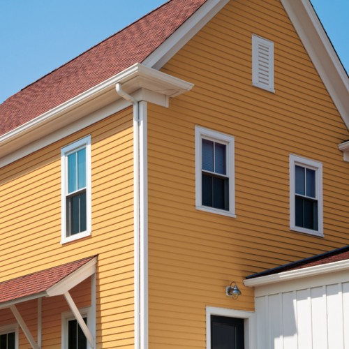"""4"""" SMOOTH SIDING IN CLASSICAL GOLD WITH DIAMOND WHITE TRIM"""